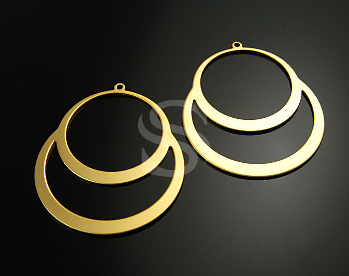 [B0595-P-MG] 4 Pcs / Simple Flat Two Circles Pendant / Steel / 49mmx40mm