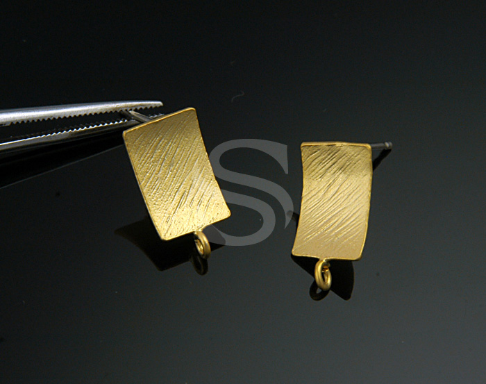 [B0635-E-MG] 2 Pcs / Unique Brush Textured Rectangular Earring Findings / Brass / 7mmx13.7mm