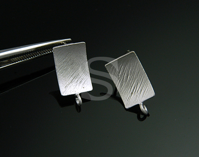[B0635-E-MS] SALE 2 Pcs / Unique Brush Textured Rectangular Earring Findings / Brass / 7mmx13.5mm
