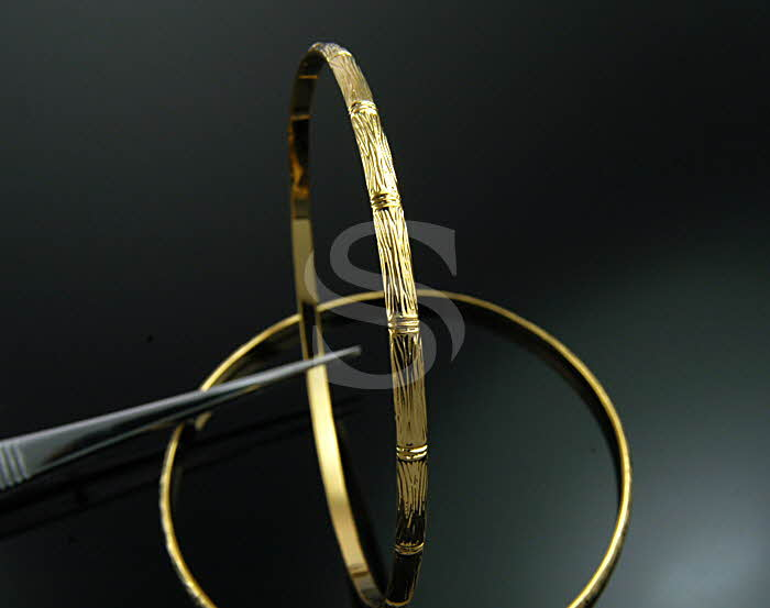 [R0007-G] 4 Pcs / Oriental Bamboo Bangle / Brass / 65mm