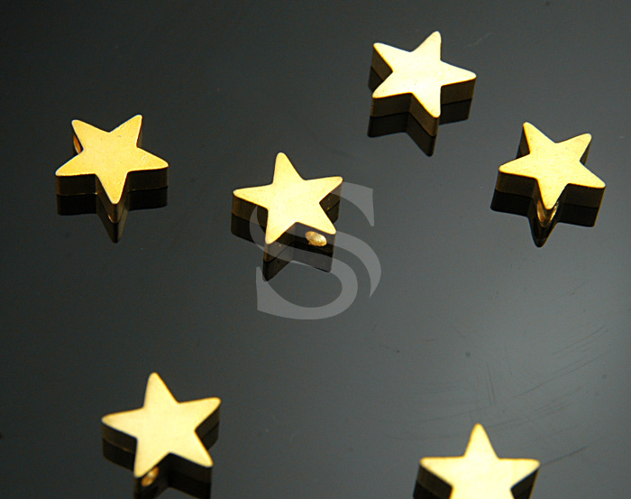 [B1104-P-MG] 6 Pcs / Simple Flat Petite Star Beads / Brass / 8mmx8mm