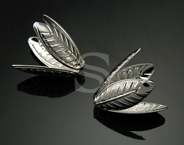 [BS0709-MG] Dainty Four Leaves Bead Caps / Steel / 15mmx19mm