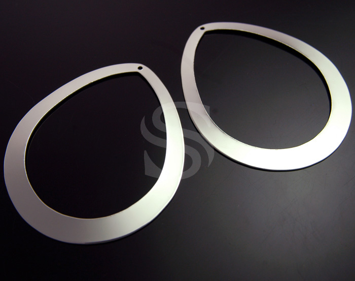 [B0832-P3-RF] 2 Pcs / Flat Teardrop Pendant / Steel / 48mm x 57.6mm