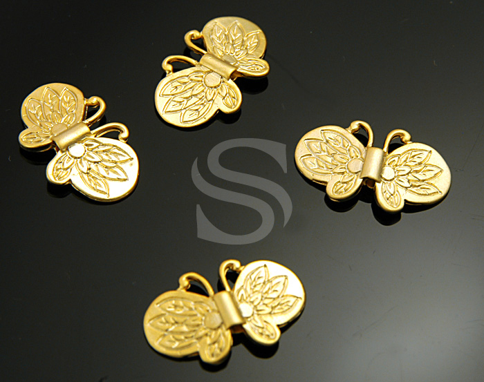 [B0851-C-MG] SALE 4 Pcs / Sensational Description Flying Butterfly Beads / Brass / 19mmx11.7mm