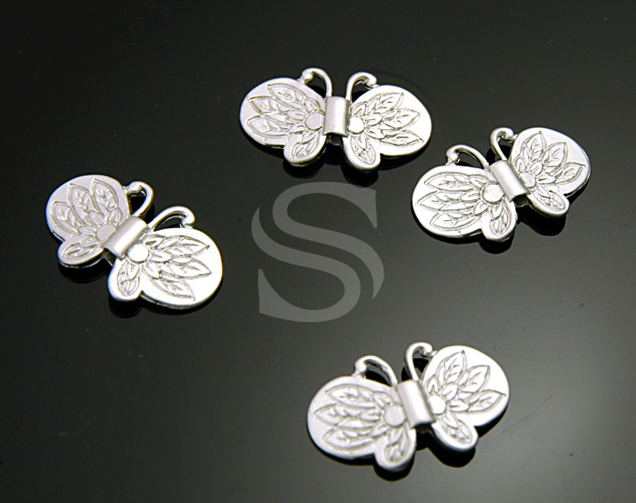 [B0851-C-MS] SALE 4 Pcs / Sensational Description Flying Butterfly Beads / Brass / 19mmx11.7mm