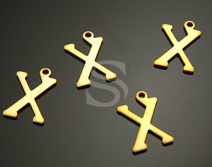 [B0867-X-MG] 4 Pcs / Classic Simple Initial Charm / Brass / 10mmx15mm