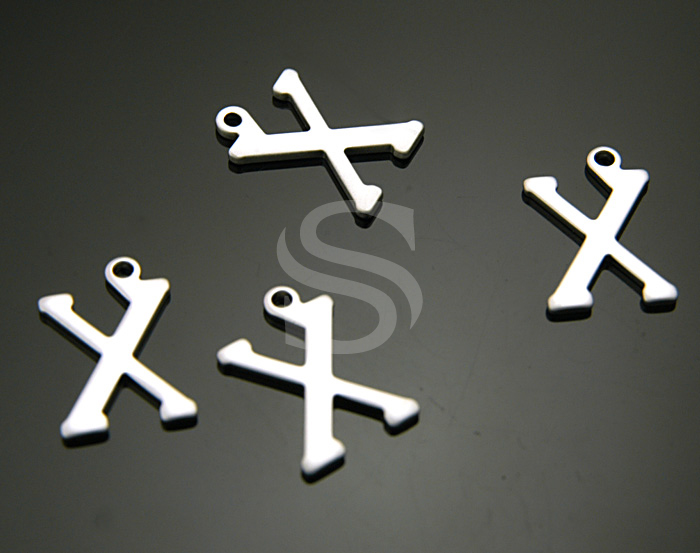 [B0867-X-MS] 4 Pcs / Classic Simple Initial Charm / Brass / 10mmx15mm