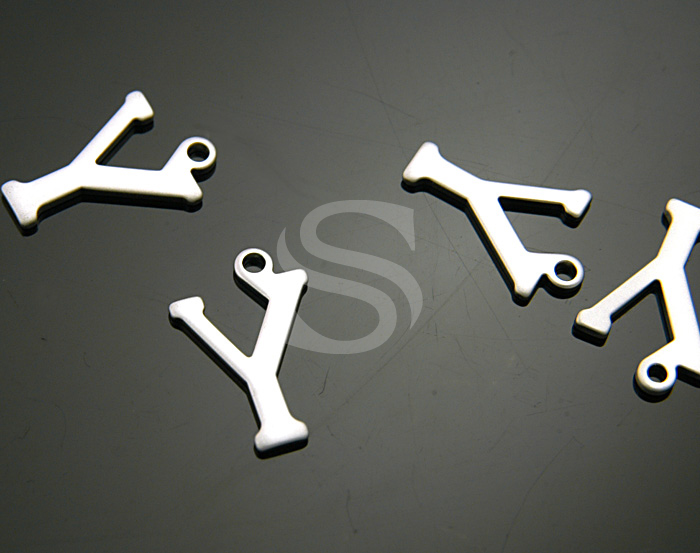 [B0867-Y-MS] 4 Pcs / Classic Simple Initial Charm / Brass / 10mmx15mm