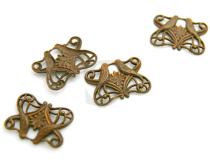 [B0921-C] 4 Pcs /Art Nouveau Style Two Bird Connector / Brass / 20.8mm x 15.5mm
