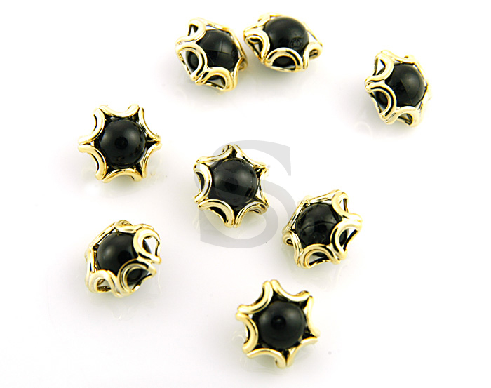 [G0120-C-GBL] 8Pcs / Elegant Line Detailed Imitation Pearl Beads / Brass / 8mmx9mm