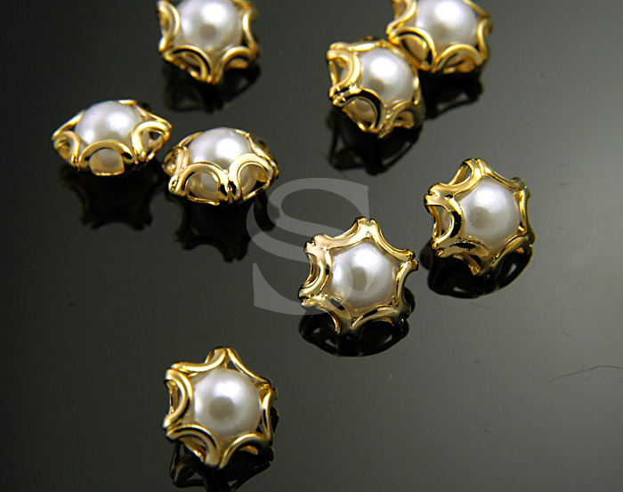 [G0120-C-GWH] 8Pcs / Elegant Line Detailed Imitation Pearl Beads / Brass / 8mmx9mm