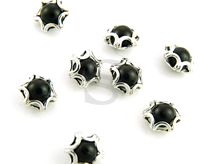 [G0120-C-RFBL] 8Pcs / Elegant Line Detailed Imitation Pearl Beads / Brass / 8mmx9mm