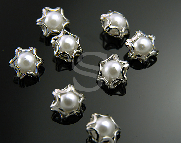 [G0120-C-RFWH] 8Pcs / Elegant Line Detailed Imitation Pearl Beads / Brass / 8mmx9mm
