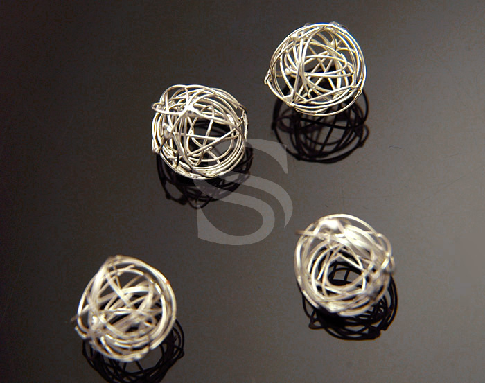 [B0951-C-ATSS] 4 Pcs / Adorable Tangle of Line ball Connector / Brass / 8mm