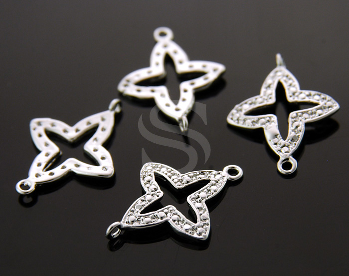 [B0980-C-RF] 4 Pcs / Dainty European Style Star Connector / Brass / 14mmx19mm