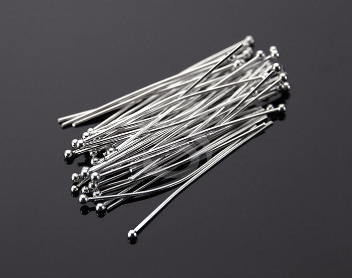 [BS0304-1.5x30-RF] 50 Pcs / Ball Headpins / Brass / 24 gauge x 30mm