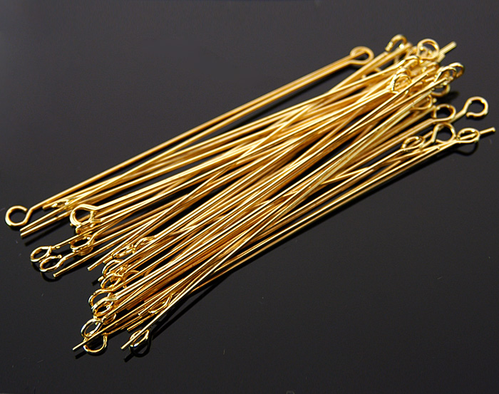 [BS0307-2.5x50-G] 50 Pcs / Eyepins / Brass / 24 gauge x 50mm