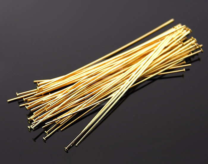 [BS0301-50-G] 50 Pcs / Headpins / Brass / 24 gauge x 50mm
