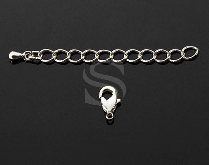 [BS0202-ATSS] 6 Pcs / Lobster Clasp with Extension Chain / Brass / 3mmx71mm