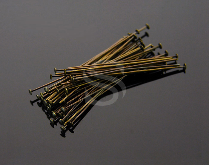 [BS0303-AB] SALE 50 Pcs / Headpins / Brass / 24 gauge x 30mm