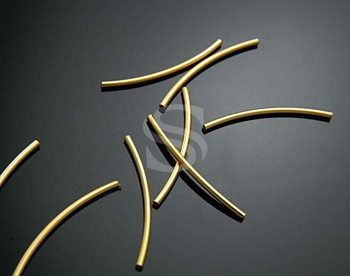 [BS1101-MG] 8 Pcs / Curved tube conncetor / Brass / 1.5mmx25mm