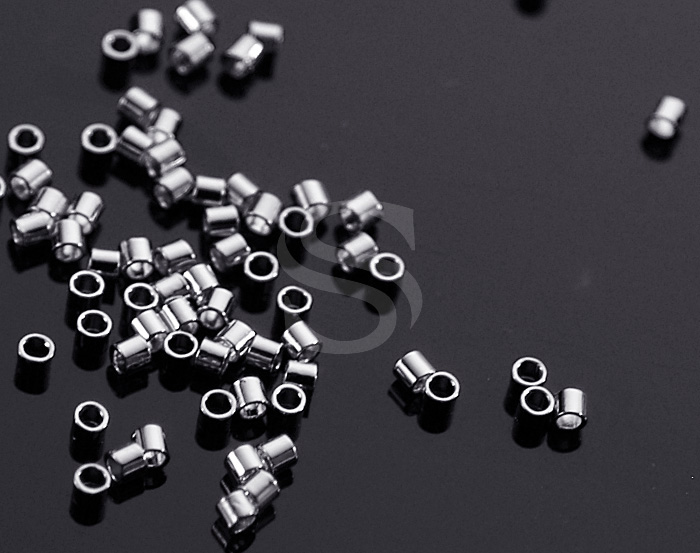 [BS0505-2-1.8-RF] 170 Pcs / Crimp Tubes / Brass / 1.8mm(diameter) x 1.4mm