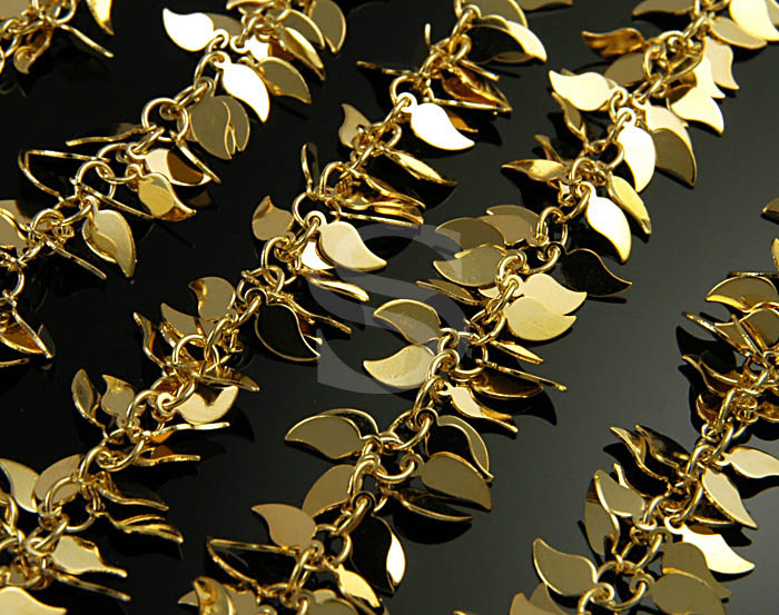 [CH0802-G] 1m / Simple Flat Leaves Charm Cluster Chain / Brass / 4mmx9mm
