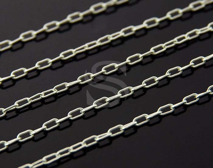 [CH0500-ATSS] 1m / Long Oval Drawn Flat Cable Chain / Brass / 1.3mmx2.8mm