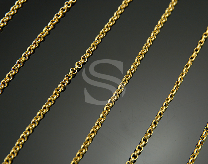 [CH1700-20-G] 1m / Small Rolo Chain / Brass / 1.65mm