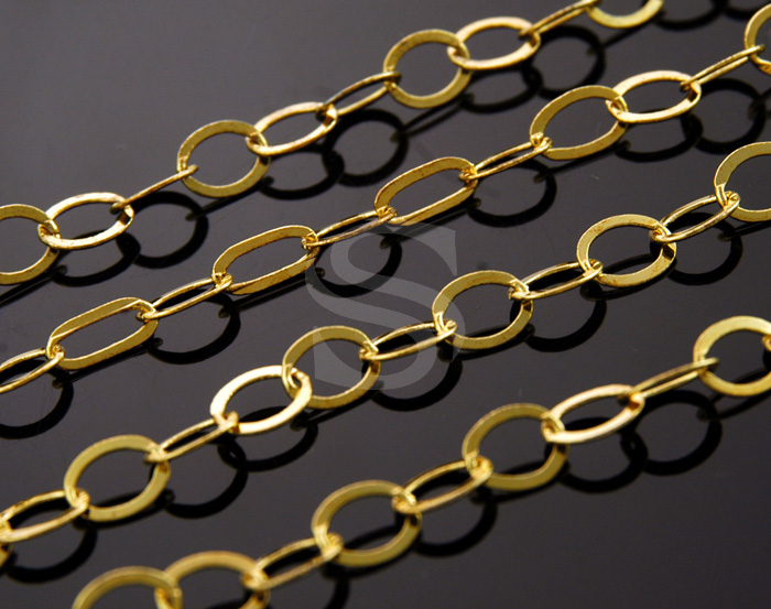 [CH0005-2-G] 1m / Flat Oval Link Chain / Brass / 6.8mm x 8.6mm