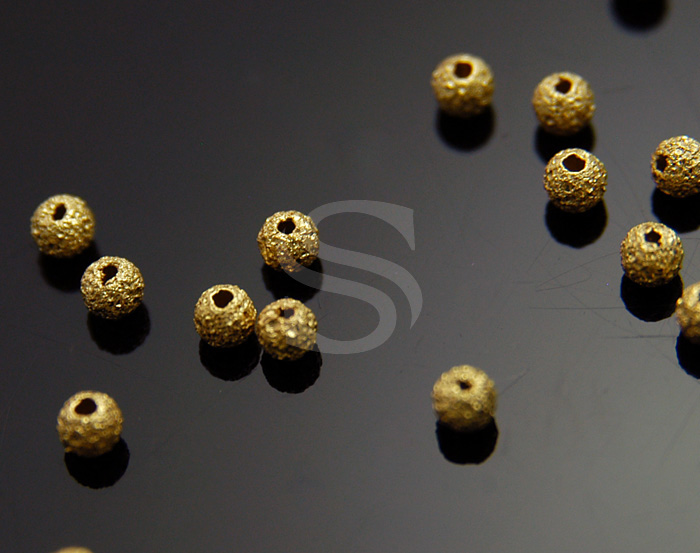 [BS1006-G] 20 Pcs / Bumpy Round / Brass / 3mm