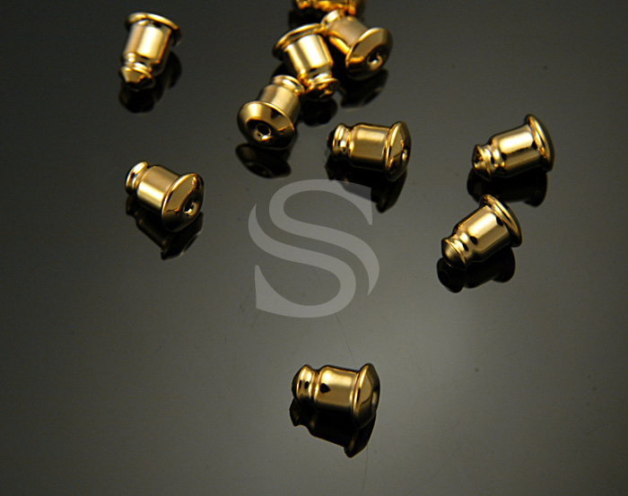 [BS0401-G] 10 Pcs / Nickel Free Gold Plated Earring Clutch / Brass / 5mmx6mm