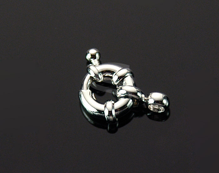 [BS0207-RF] 4 Pcs / Ring Detailed Fancy Spring Ring Clasp / Brass / 9.5mmx16mm