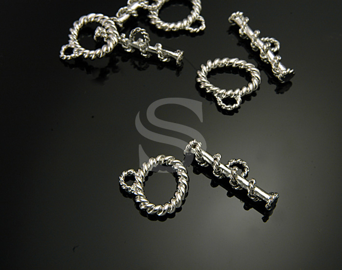 [BS0906-RF] 4 Set / Twisted String Detailed Oval Toggle Clasps / Brass / 16mmx16mm , 24mmx8mm