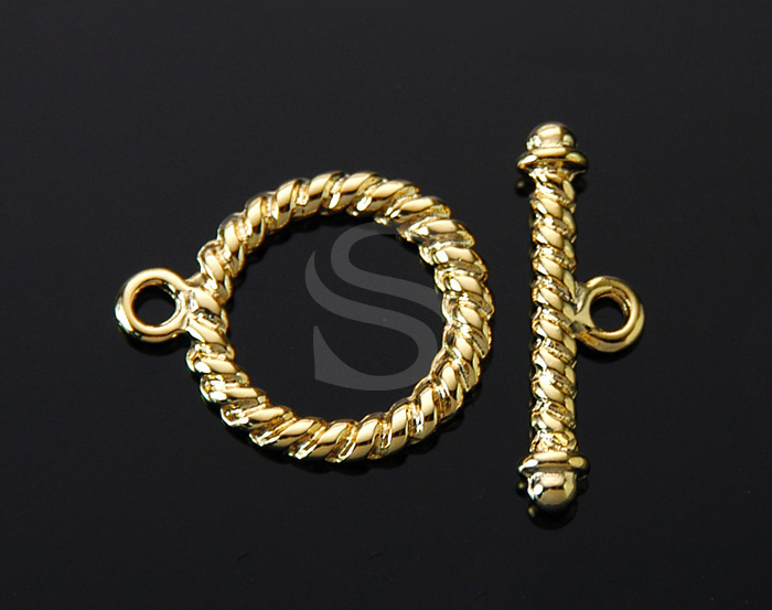 [BS0907-G] 4 Set / Twisted Round Toggle Clasps / Brass / 17mmx22mm , 23mmx7.6mm