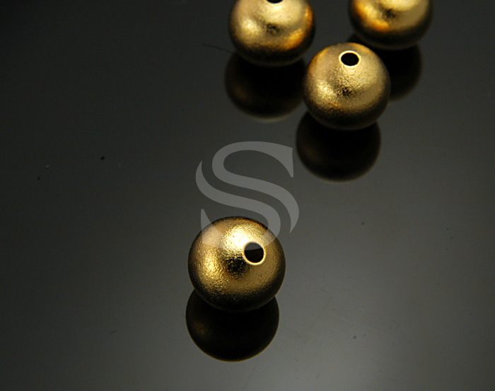 [BS1008-G] 4 Pcs / Sand Textured Ball Beads / Brass / 10mm