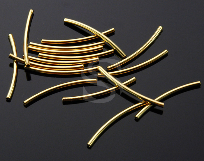 [BS1101-G] 8 Pcs / Curved tube conncetor / Brass / 1.5mmx25mm