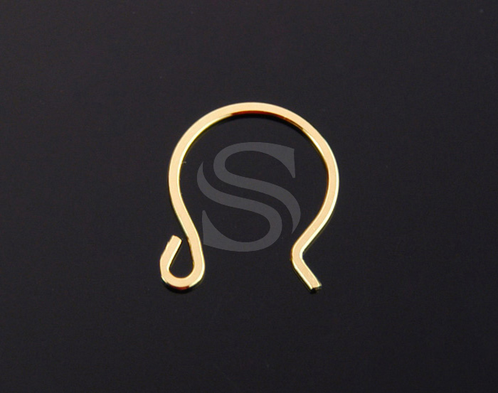 [BS1201S-1-G] 4 Pcs / Flat Simple Curve Hook Earwire / 92.5% Sterling Silver / 11mmx15mm