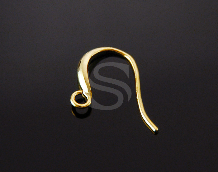[BS1206S-G] 4 Pcs / Dolphin French Hook Earwires / Brass / 12mm