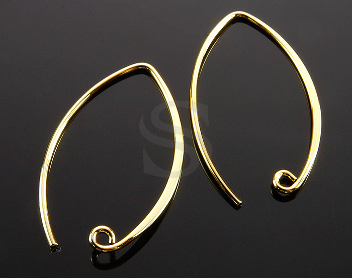 [BS1215-G] 10 Pcs / Unique Flat Hook Earrign Findings / Brass / 1.1mmx35mm