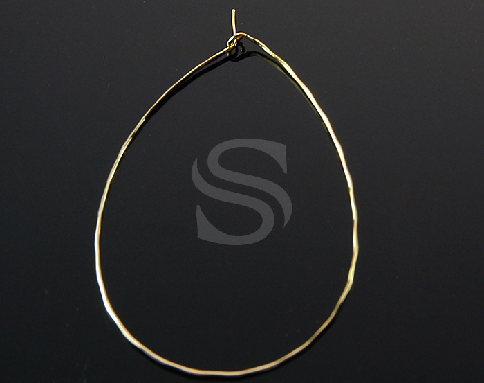 [BS1221-1-G] 6 Pcs / Waterdrop shape Hoop Earring / Brass / 53mm