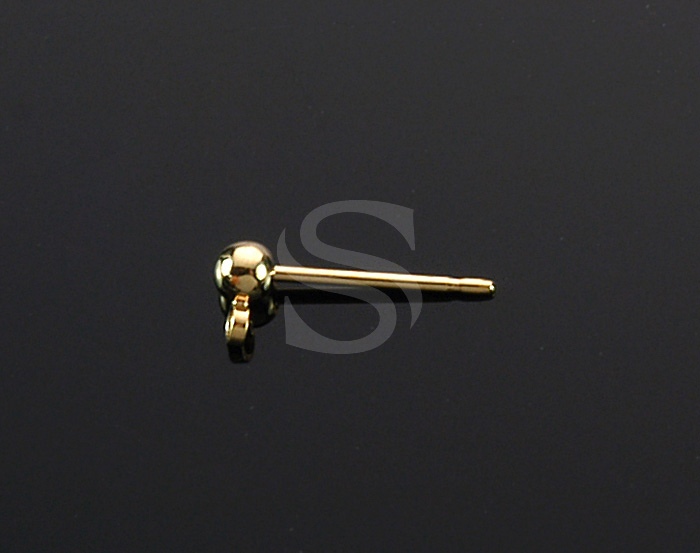 [BS1223-G] 8 Pcs / Ball Stud Earrings / Brass / 3mmx5mm