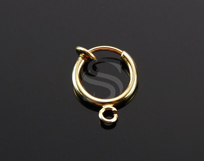[BS1226S-G] 4 Pcs / Petite Hoop Earring Findings for Non Pierced Ear