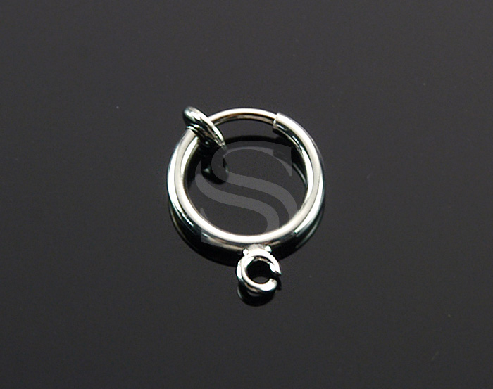 [BS1226S-RF] 4 Pcs / Petite Hoop Earring Findings for Non Pierced Ear