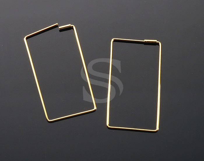 [BS1241-G] 4 Pcs / Rectangle Earring / Brass / 20mm x 40mm