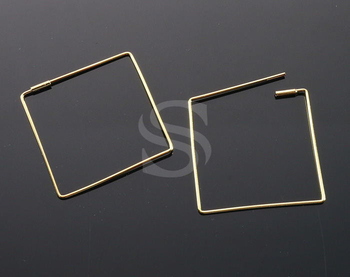 [BS1242-G] 4 Pcs / Square Earring / Brass / 30mm x 30mm