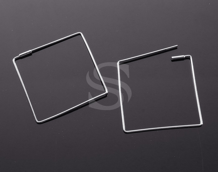 [BS1242-RF] 4 Pcs / Square Earring / Brass / 30mm x 30mm