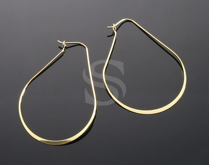 [BS1246-G] 4 Pcs /Lined Teardrop Earring / Brass / 40mm x 51mm