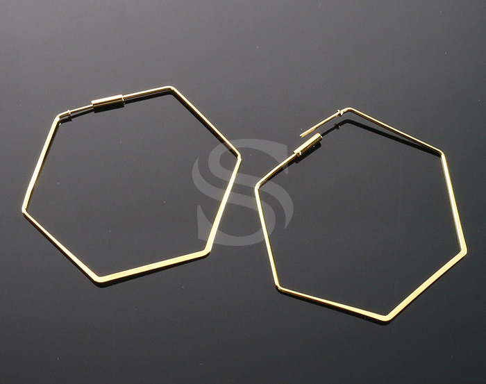[BS1247-G] 4 Pcs / Lined Hexagon Earring / Brass / 46mm x 51mm