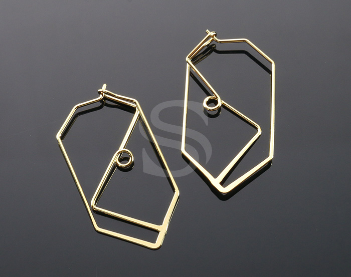 [BS1252-G] 4 Pcs / Lined Earring / Brass / 20mm x 40mm